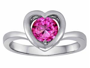 Star K Heart Promise of Love Ring with 7mm Round Created Pink Sapphire in Sterling Silver Size 7