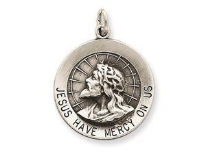 Sterling Silver Jesus Have Mercy Medal Pendant Necklace Chain Included