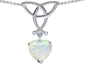 Celtic Love by Kelly Love Knot Pendant with 8mm Heart Shape Simulated Opal in Sterling Silver