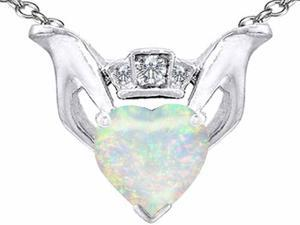 Celtic Love by Kelly 8mm Heart Claddagh Pendant with Simulated Opal in Sterling Silver