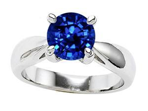 Star K 7mm Round Created Sapphire Ring in Sterling Silver Size 4.5