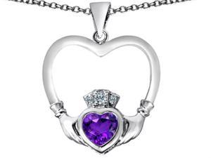 Celtic Love By Kelly Celtic Claddagh Heart Pendant with Heart Shape Simulated Amethyst in Sterling Silver