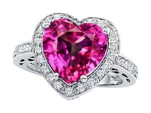 Star K Large 10mm Heart Shape Created Pink Sapphire Wedding Ring in Sterling Silver Size 6