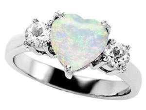 Star K 8mm Heart Shape Simulated Opal Ring in Sterling Silver Size 7.5
