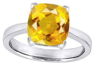 Star K Large 10mm Cushion Cut Solitaire Ring with Simulated Citrine in Sterling Silver Size 7