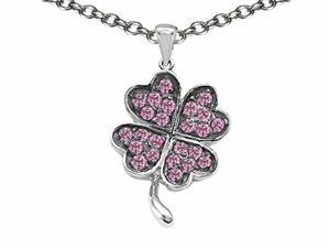 Celtic Love by Kelly Lucky Clover Pendant with Created Pink Sapphire in Sterling Silver