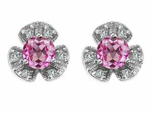Star K Flower Earrings with Round 5mm Created Pink Sapphire in Sterling Silver