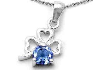 Celtic Love by Kelly Round Simulated Aquamarine Lucky Clover Pendant in Sterling Silver