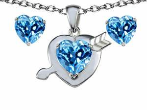 Star K 8mm Simulated Blue Topaz Heart with Arrow Pendant with Matching Earrings in Sterling Silver
