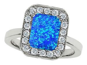 Star K 10x8mm Emerald Cut Simulated Blue Opal Ring in Sterling Silver Size 6