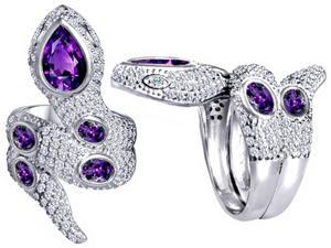 Star K Good Luck Snake Ring with Simulated Amethyst Stones in Sterling Silver Size 7