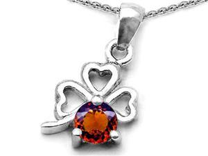 Celtic Love by Kelly Round Simulated Garnet Lucky Clover Pendant in Sterling Silver