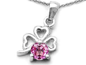 Celtic Love by Kelly Round Created Pink Sapphire Lucky Clover Pendant in Sterling Silver