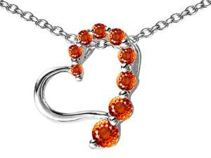 Star K Journey of Love Heart Pendant with Round Simulated Orange Mexican Fire Opal in Sterling Silver