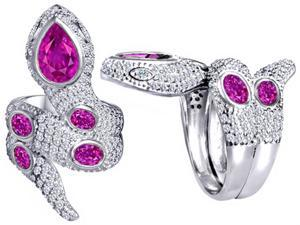 Star K Good Luck Snake Ring with Created Pink Sapphire Stones in Sterling Silver Size 6