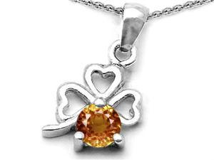 Celtic Love by Kelly Round Simulated Imperial Yellow Topaz Lucky Clover Pendant in Sterling Silver