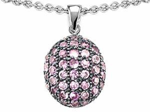 Star K Oval Puffed Pendant with Created Pink Sapphire in Sterling Silver
