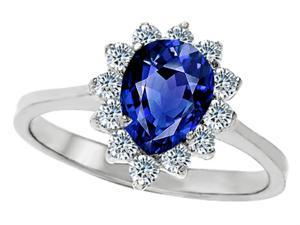 Star K 8x6mm Pear Shape Created Sapphire Ring in Sterling Silver Size 5