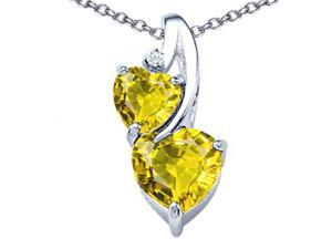 Star K 8mm Heart Shape Simulated Citrine Double Hearts Pendant in Sterling Silver