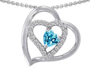 Star K 6mm Heart Shape Simulated Blue Topaz Pendant in Sterling Silver