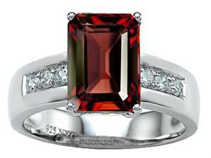 Star K Classic Octagon Emerald Cut 9x7 Ring with Simulated Garnet in Sterling Silver Size 6