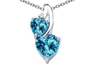 Star K 8mm Heart Shape Simulated Blue Topaz Double Hearts Pendant in Sterling Silver