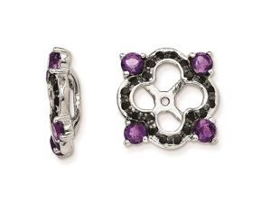 Sterling Silver Amethyst and Black Sapphire Earring Jackets
