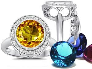 Switch-It Gems Round 10mm Simulated Citrine Ring with 12 Interchangeable Simulated Birth Months Sterling Silver Size 6