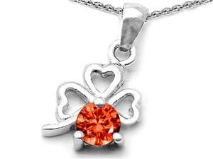 Celtic Love by Kelly Round Simulated Orange Mexican Fire Opal Lucky Clover Pendant in Sterling Silver