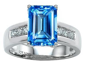 Star K Classic Octagon Emerald Cut 9x7 Ring with Simulated Blue Topaz in Sterling Silver Size 6
