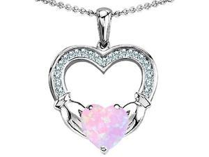 Celtic Love by Kelly Hands Holding 8mm Heart Claddagh Pendant with Pink Simulated Opal in Sterling Silver