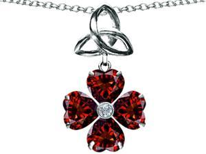 Star K Lucky Shamrock Celtic Knot Made with Heart 6mm Simulated Garnet in Sterling Silver