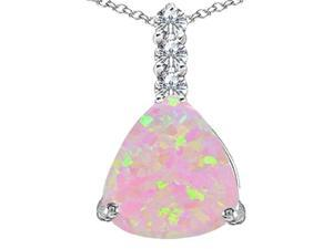 Star K Large 12mm Trillion Cut Pink Simulated Opal Pendant in Sterling Silver