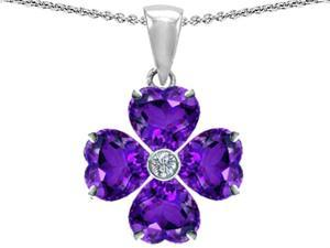 Star K 6mm Heart Shape Simulated Amethyst Lucky Clover Pendant in Sterling Silver