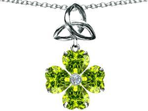 Star K Lucky Shamrock Celtic Knot Made with Heart 6mm Simulated Peridot in Sterling Silver