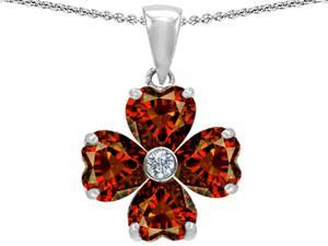 Celtic Love by Kelly 6mm Heart Shape Simulated Garnet Lucky Clover Pendant in Sterling Silver