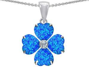Celtic Love by Kelly 6mm Heart Shape Blue Simulated Opal Lucky Clover Pendant in Sterling Silver