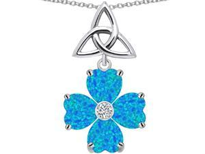 Celtic Love by Kelly Lucky Shamrock with Celtic Knot Heart 6mm Blue Simulated Opal in Sterling Silver