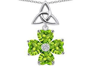 Celtic Love by Kelly Lucky Shamrock with Celtic Knot made with Heart 6mm Simulated Peridot in Sterling Silver