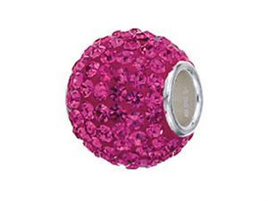 Zable Sterling Silver Pave Crystal Birth Month October Pandora Compatible Bead / Charm