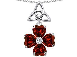 Celtic Love by Kelly Lucky Shamrock with Celtic Knot made with Heart 6mm Simulated Garnet in Sterling Silver