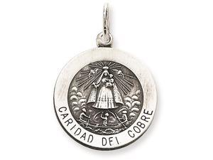 Sterling Silver Caridad Del Cobre Medal Pendant Chain Included