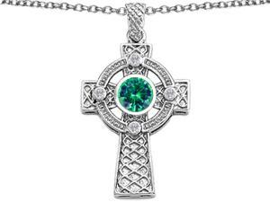 Celtic Love by Kelly Celtic Cross pendant with 7mm Round Simulated Emerald in Sterling Silver
