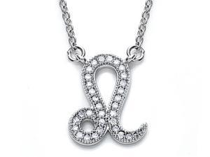 Zoe R Sterling Silver Micro Pave Hand Set Cubic Zirconia CZ Leo Zodiac Pendant Necklace On 18 Inch Adjustable Chain