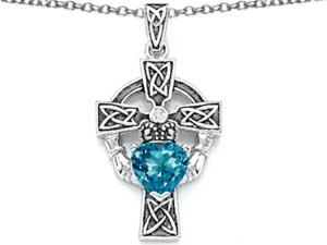 Celtic Love by Kelly Claddagh Cross pendant with 7mm Heart Shape Simulated Blue Topaz in Sterling Silver