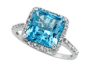 Blue Topaz Ring by Effy Collection in 14 kt White Gold Size 5.5
