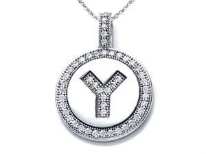 Zoe R Sterling Silver Micro Pave Hand Set Cubic Zirconia CZ Letter Y Initial Disc Pendant