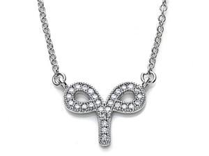 Zoe R Sterling Silver Micro Pave Hand Set Cubic Zirconia CZ Aries Zodiac Pendant On 18 Inch Adjustable Chain