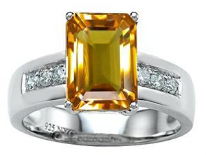 Star K Classic Octagon Emerald Cut 9x7 Ring with Simulated Citrine in Sterling Silver Size 6