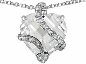 Star K Large 15mm Heart Shape Cubic Zirconia Love Pendant in Sterling Silver